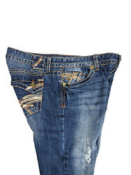 Amethyst Womens Arianna Blue Jeans Flare Low Rise Sequin Destroy Junior Size 11 $33.94