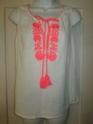 BODEN Peasant Hippie Boho Sleeve Blouse Top Neon Pink Embroidery Long Tassels4 $20.00