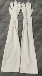 Vintage White Cotton Elbow Length Ladies Opera Gloves Glass Pearl Buttons $8.00