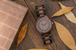Custom Engraved Wooden Watches Mens Personalized Anniversary Valentines Father C $45.99