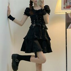 Women Gothic Lolita Dress Goth Punk Harajuku Style Bandage Black Dresses Clothes