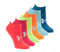 Under Armour No Show Women SOCKS 6 Pair Essential Multicolor Wicks Moisture NEW $18.60