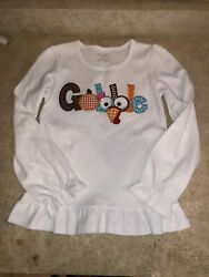 ARB Blanks Girls Long Sleeve Ruffle White Top with Gobble Size 10 $4.99