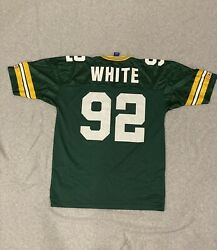 RARE VINTAGE Green 90s Reggie White Packers Champion Football Jersey Size 44 $24.99