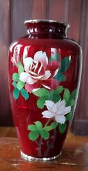 NICE ANTIQUE RED CLOISONNE VASE with FLOWERS $49.00