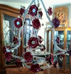 Classic Italian Designed Beaded Chandelier with Red Roses and Matching Sconces $1495.00