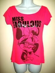 Disney Womens Novelty Top Size M 7 9 Pink Minnie Mouse Sassy Graphic Wide Neck $16.99