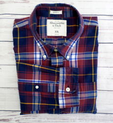 Abercrombie amp; Fitch Men#x27;s Casual Long Sleeve Shirt XL Red Blue Plaid Muscle $14.00