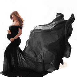 Long Maternity Pregnant Women#x27;s Black Dress Photography Props Maxi Dresses $28.86