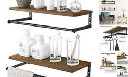 Floating Shelves for Wall Set of 2Rustic Wood Wall Storage Shelf Wall Mounted $30.79
