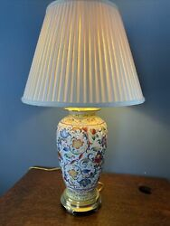 """Vintage Frederick Cooper Painted Porcelain Lamp Brass 30"""" Tall AND SHADE $217.00"""