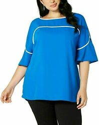 NEW Alfani Women Scoop Neck Bell Sleeves Blue Piping Bell Sleeve Blouse Plus 3X $12.87
