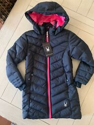 NWT Spyder Girls Long Synthetic Down Puffer Jacket Size XS 5 6 Pink Black $33.00