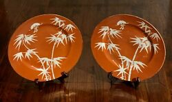 Antique Pair Chinese Porcelain Plates 19th C. Qing Coral Bamboo Bats 9 3 4quot; $400.00