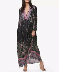 Free People quot;If You Only Knewquot; Black Pink Boho Maxi Dress Womans Sz M Tie Front $59.00