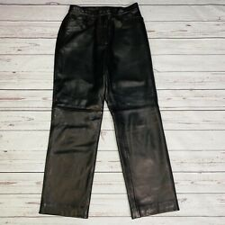 Nordstrom Womens Genuine Lambskin Leather Pants Black Petite 8 Straight Lined $79.96
