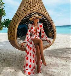 2021 Red Dot Beach Dress Bikini Cover Ups Print Bathing Suit Women $19.99