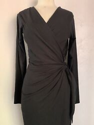 Reformation Wrap Black long Dress size Large $59.00
