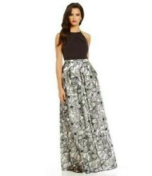 Aidan Mattox Halter Embroidered Long Dress with Pockets Size 6 $80.00