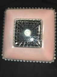 "Vintage Mid Modern 11.5"" square glass Ceiling Shade pink clear atomic starburst $35.00"