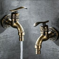 Garden Faucet Carved Wall Mount Vintage Antique Styles Bibcock Kitchen Tap Usage $28.99