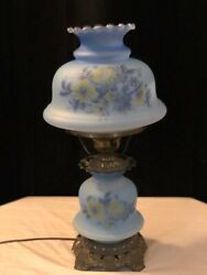 Antique Hurricane Lamp Quoizel Inc 1973 Blue with Hand Painted $175.00