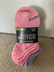 NEW 10 Pairs Skechers Active Cotton No Show Womens Socks Multi Color $16.99