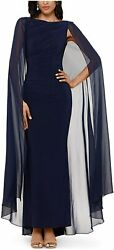 Betsy amp; Adam Womens Long Chiffon Cape Navy Blue Size 14 Jersey Gown $219 265