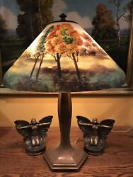 Jefferson Arts Crafts Reverse Painted Antique Lamp Handel Bradley Hubbard Era $2250.00