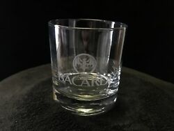 Bacardi Rum Cocktail On The Rocks Lowball Glass Etched Bat Logo Design Barware $6.00