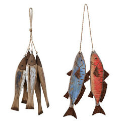 Wood Fish Decor Nautical Ornament Wall Hanging Wood Fish Decorations for Home $29.90
