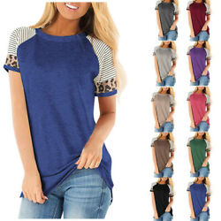Womens Short Sleeves Summer Plus Size T Shirt Casual Blouse Loose Pullover Tops $13.15