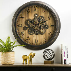 Glitzhome 27#x27;#x27; Farmhouse Rustic Wooden Moving Gears Large Wall Clock Home Decor $96.99