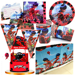 MIRACULOUS LADYBUG CUPCAKE TOPPER BALLOON BANNER CUP PLATE TABLE COVER PARTY $11.99