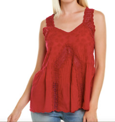 Johnny Was Size Harper Pink Embroidered Lace Tank Top Boho 2X $248 $99.99