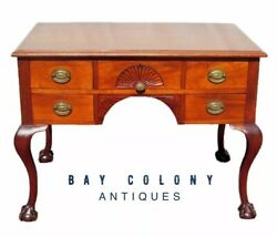 19TH C BALL amp; CLAW CHIPPENDALE STYLED MAHOGANY ANTIQUE DESK WITH SHELL CARVINGS $1250.00