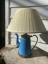 Turquoise Enamel Paint Tin Tea Or Coffee Kettle Primitive Rustic Lamp With Shade $95.00