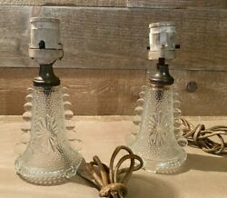Clear Pressed Glass Table Lamps Vintage Sandwich Glass C $69.00