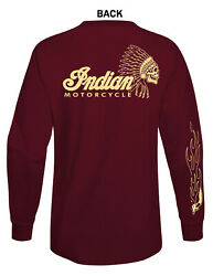 INDIAN MOTORCYCLE GRAPHIC T SHIRT MAROON COLOR LONG SLEEVE $21.99