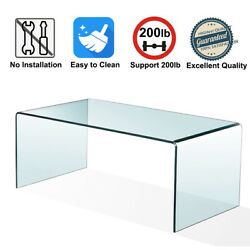 Tempered Glass Coffee Table Accent Cocktail Side Table for Living Room Furniture $158.99