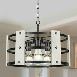 3 Light Farmhouse Chandelier White Drum Chandelier in Wood and Metal Round $159.78