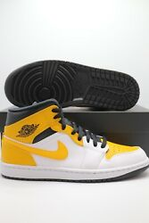 Nike Air Jordan 1 Mid University Gold White Black 554724 170 Men#x27;s amp; GS Sizes $159.97