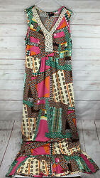 NEW DIRECTIONS Women's Maxi Length Dress Size Large crochet accents $24.99