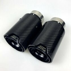 2PCS Glossy Black Carbon Fiber Exhaust Tip For M Performance BMW Universal Pipes $99.00