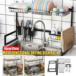 2 Tier Upgrade Stainless Steel Over The Sink Drying Dish Rack Kitchen Holder $61.19