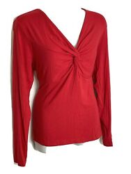 Pinky amp; Dianne Stein Mart Red Knot Front Red Long Sleeve T Shirt Top M NWT $12.99