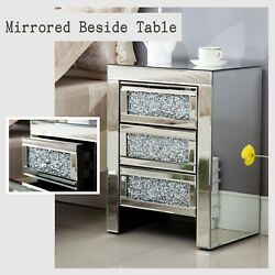 Mirrored End Table 3 Drawers Mirror Accent Side Table Silver Finished Nightstand $180.99