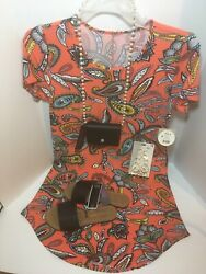 Orange Floral Dress Ensemble Size small with a  5 6 Shoe wallet and earrings $18.99