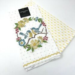 Cynthia Rowley set of 2 20quot; X 28quot; Embroidered Birds amp; Flowers kitchen towels NWT $18.40