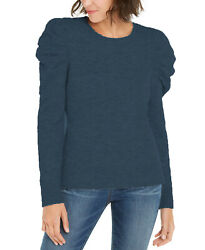 INC International Concepts Women#x27;s Puff Sleeve Sweater Navy Size X Large $19.50